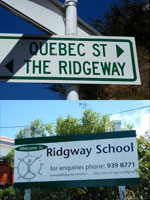 Ridgway School and street signs